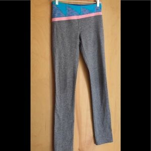 Ivivva gray leggings with colorful waistband